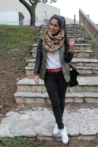 olive green jacket - camel scarf - black bag - ruby red belt