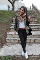 olive green jacket - camel scarf - black bag - ruby red belt