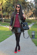 black skirt - dark khaki coat - ruby red jumper - ruby red heels