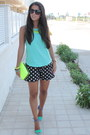 Black-shorts-aquamarine-t-shirt