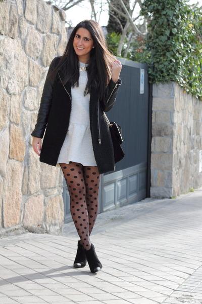 periwinkle dress - black coat