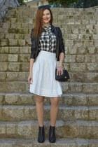 black H&M boots - black H&M jacket - black H&M shirt - black Tally Weijl bag