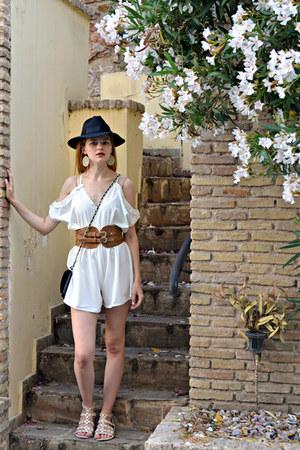 black DressLink hat - black Tally Weijl bag - white Rosegal romper