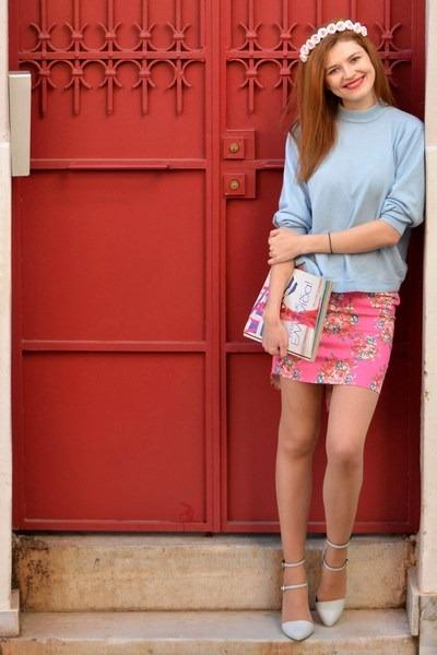 hot pink Tesha skirt - light blue daxon sweater - light blue Stradivarius heels