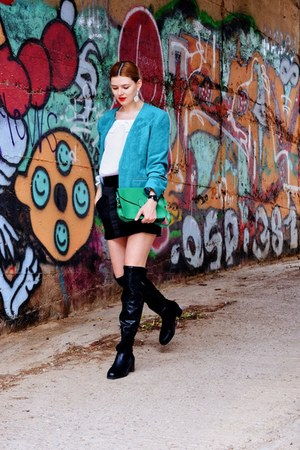 black pull&bear boots - turquoise blue BAZZR blazer - green Dressin bag