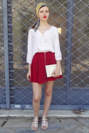 blue Projectif scarf - ivory Zara shirt - ruby red Bershka skirt