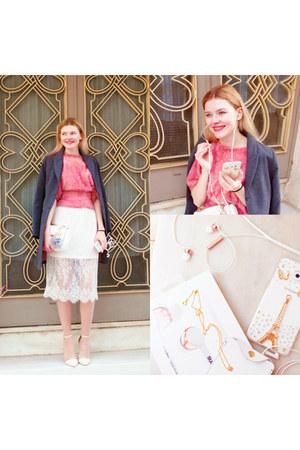 white SIMILAR bag - heather gray SIMILAR coat - hot pink SIMILAR sweater