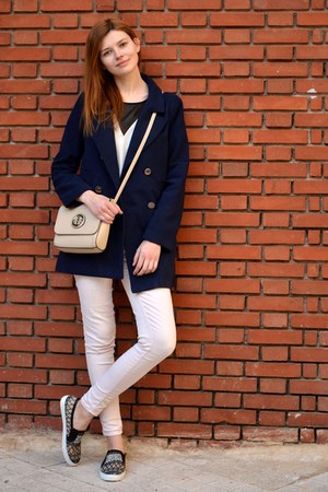 navy style moi coat - white Miss Selfridge blouse - beige Bershka pants