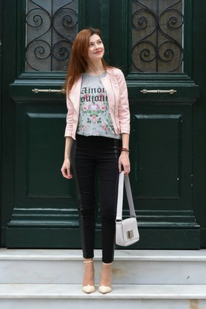 light pink Bershka jacket - periwinkle H&M bag - black H&M pants