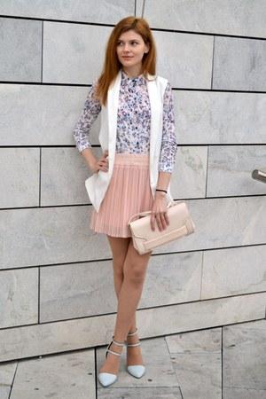sky blue Bershka shirt - peach H&M bag - light pink OWTWO skirt