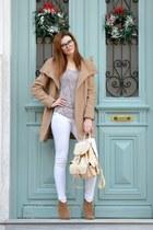 bronze Bershka coat - bronze Tally Weijl boots - cream Yesforcom bag