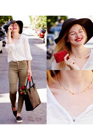 olive green SIMILAR jeans - black SIMILAR bag - white SIMILAR blouse