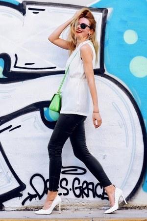 white BAZZR blouse - olive green SIMILAR jeans - chartreuse Trussardi Jeans bag