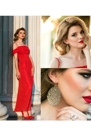 red SIMILAR dress - red SIMILAR heels - gold OASAP ring