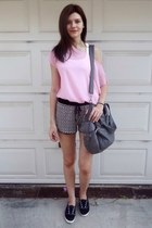 charcoal gray Bershka bag - charcoal gray pull&bear shorts