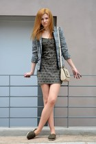 army green Bershka dress - black pull&bear jacket - army green dunlop flats