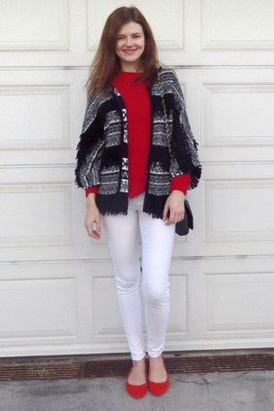 red Bershka sweater - black Tally Weijl bag - black limited collection cardigan