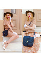 tan SIMILAR dress - dark khaki Barts hat - black Newchic bag