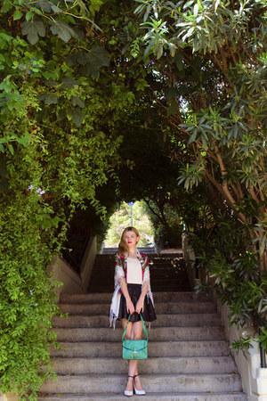 white sammydress shoes - white SIMILAR scarf - forest green Dressin bag