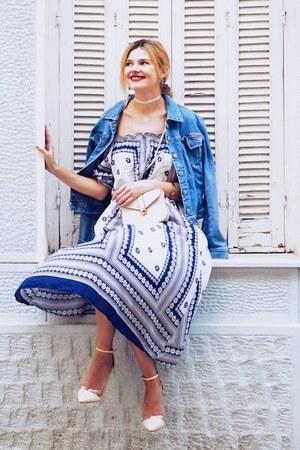 blue POPPY LOVERS FASHION dress - blue SIMILAR jacket - ivory zaful bag