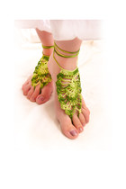 Green bridal lace top barefoot sandals, nude lace