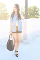 black Zara shorts - sky blue Gap shirt - black Marc by Marc Jacobs bag