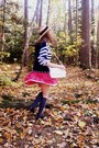 Navy-thrifted-sweater-ruby-red-heart-patterned-handmade-vintage-dress