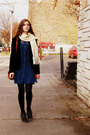 Navy-thrifted-dress-black-thrifted-blazer-ivory-vintage-scarf
