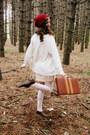 Beige-erin-fetherston-dress-ruby-red-handmade-hat