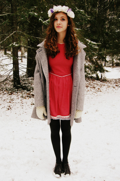 ruby red handmade vintage dress - silver vintage coat
