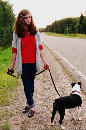 silver vintage cardigan - navy Target jeans - ruby red vintage anne klein blouse