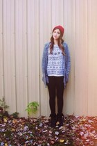 off white fair isle vintage sweater - black combat Target boots