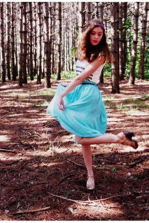 cream Charlotte Russe top - tan Target heels - aquamarine vintage skirt