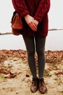 Crimson-sweater-thrifted-dress-charcoal-gray-target-tights