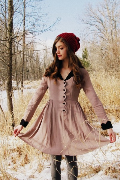 brick red handmade hat - light pink asos dress - silver Target tights