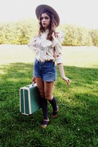 ivory vintage blouse - tan gifted hat - teal suitcase vintage bag