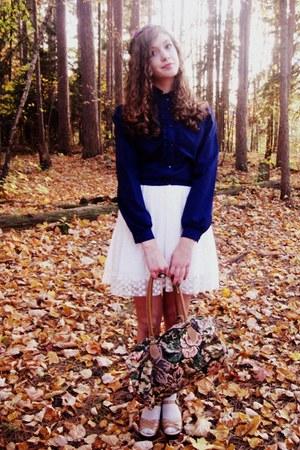 green vintage bag - white Forever21 dress - cream Charlotte Russe socks