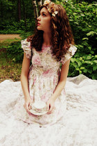 light pink floral vintage dress - ivory lacey sheer Charlotte Russe socks - oliv