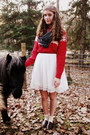 White-forever-21-dress-ruby-red-lands-end-sweater-charcoal-gray-target-scarf