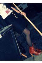 black mangas vampiro Levis jacket - brown Ricky Sarkani boots - black panties