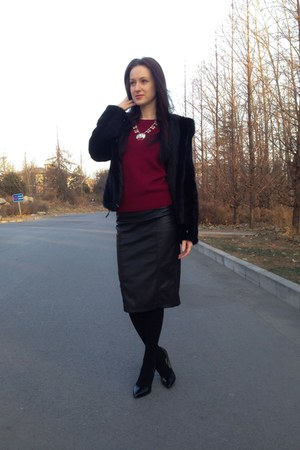 black leather Zara skirt - black fur coat - ruby red J Crew necklace