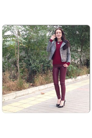 silver H&M coat - maroon vancle sweater - crimson H&M pants