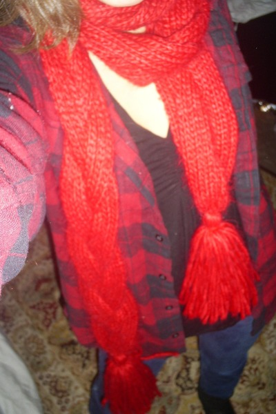 red Thrift Store scarf - ruby red LL Bean shirt - navy abercrombie and fitch jea