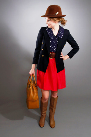 bloomingdales blazer - leather boots boots - bag - Just Sillk skirt