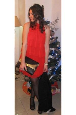 black Stradivarius blazer - red Zara dress - black Calzedonia tights