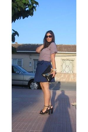 blue Skirt skirt - black Stradivarius bag - black Stradivarius heels
