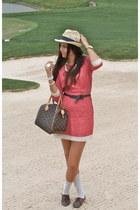 pink vintage dress Forever 21 dress - beige handmade H&M hat