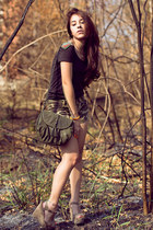 Bershka shirt - Mango bag - Bershka shorts - Charlotte Russe wedges