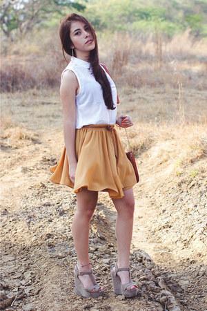 Forever 21 skirt - Bershka shirt - Charlotte Russe wedges