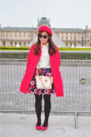 sling coach bag - floral print PERSUNMALL skirt - bow Nine West flats
